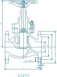 UJ41H柱塞蒸汽截止阀外形尺寸图